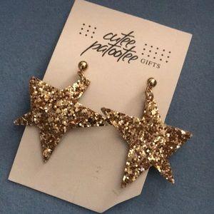 Glitter star earrings